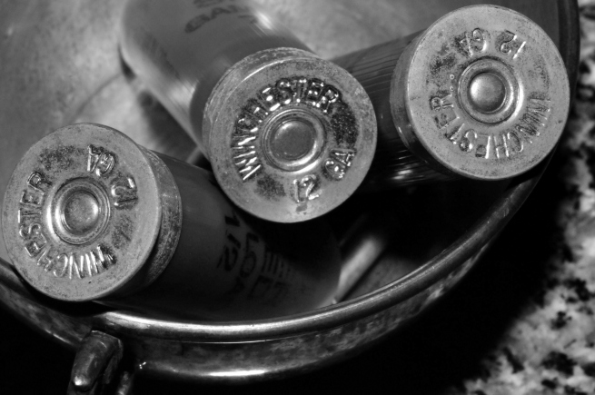 Thirty-year-old Shotgun Shells in Silver Cup in Cupboard
